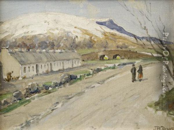 Figures On Road By Cottages, West Of Ireland Oil Painting - James Humbert Craig