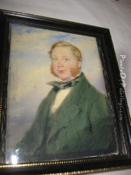 A Gentleman Wearing Green Coat, Waistcoat Andtied Stock Oil Painting - James Ii Pelham