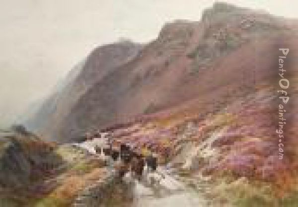 Cattle On A Highland Path Oil Painting - James Jackson Curnock