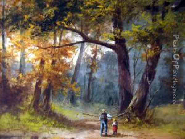 Northcote, Brooklyn, Ny, -, 'man And Child By Lake',watercolor, Signed Lower Left 'james Northcote', Framed, Notexamined Out Of Frame Oil Painting - James Northcote
