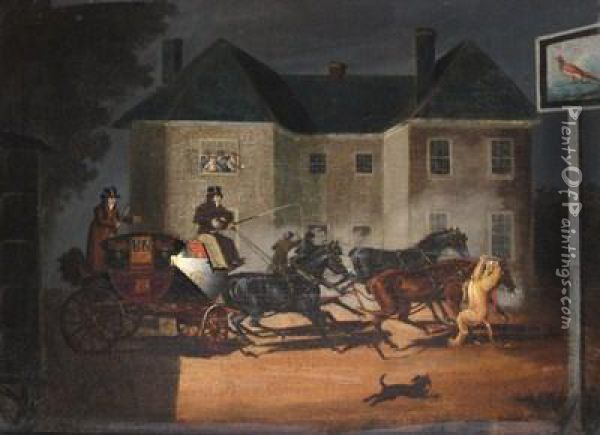 The Lioness Attacking The Horse Of The Exeter Mail Coach, Near Salisbury Oil Painting - James Pollard