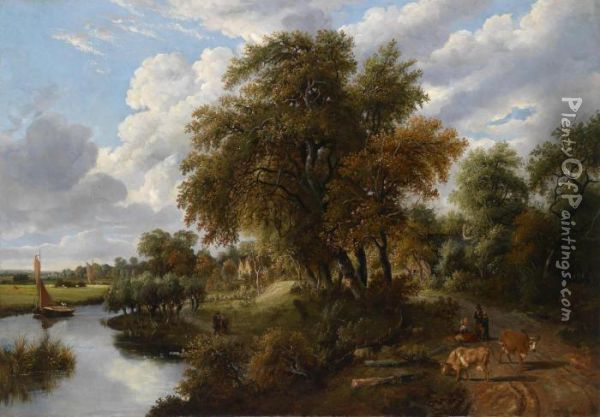 Landscape With River Oil Painting - James Stark
