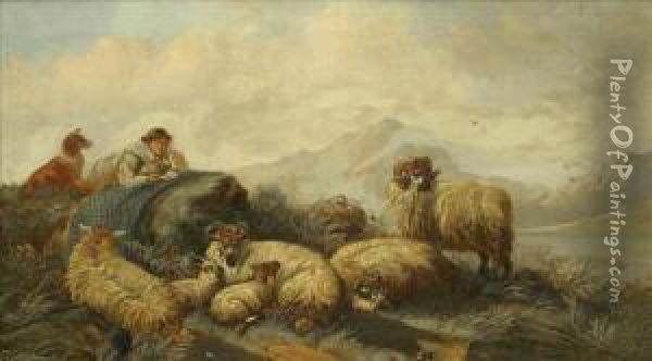 Shepherd And Flock Oil Painting - James W. Morris