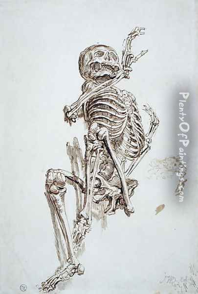 A Human Skeleton Oil Painting - James Ward