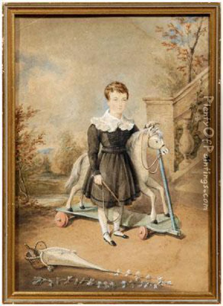 Boy Holding A Whip And Standing By Toyhorse In A Garden Oil Painting - James Warren Childe
