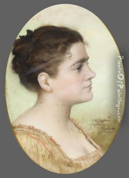 Portrait Of A Woman Inprofile. Oil Painting - James Wells Champney