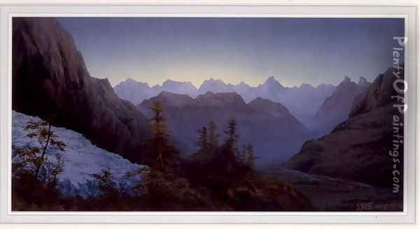 Dawn in the Alps, 1875 Oil Painting - James Whittet Smith
