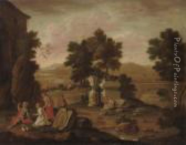 A River Landscape With Classical Ruins And Figures Conversing, Mountains Beyond Oil Painting - Jan Baptist Huysmans