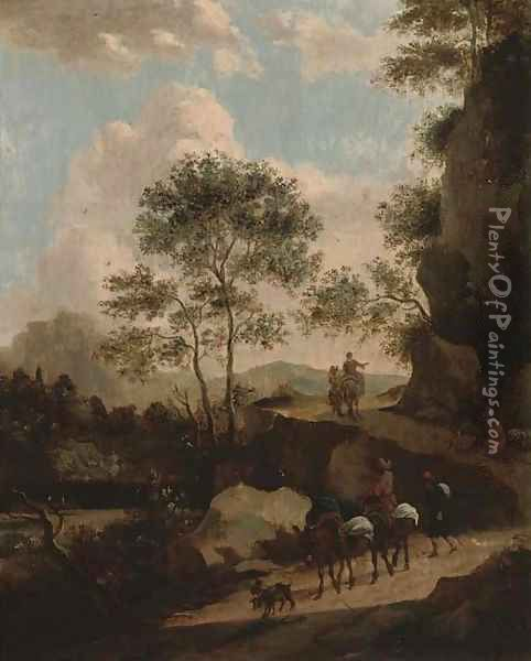 A rocky landscape with travellers on a path Oil Painting - Jan Both