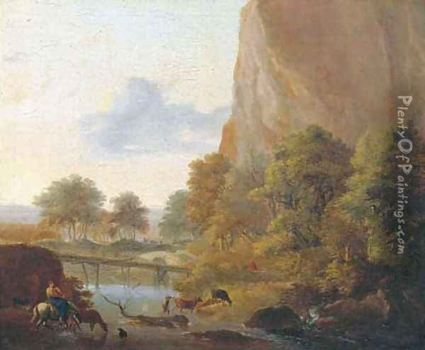 An Italianate landscape with muleteers fording a river, a sportsman in the distance Oil Painting - Jan Both