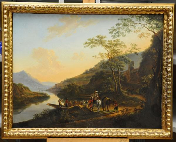 Cattle Being Led Off A Ferry 