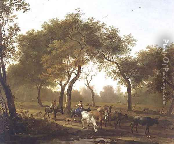 Two peasants with a herd of cattle on a wooded path leading to a lake Oil Painting - Jan Both