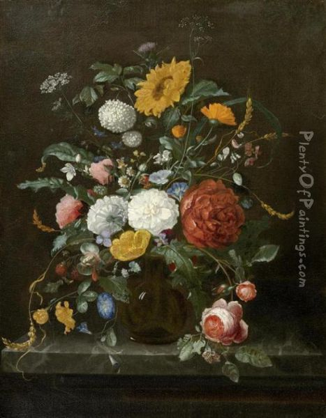 Floral Still Life In A Glass Vase On A Console Oil Painting - Jan Davidsz De Heem