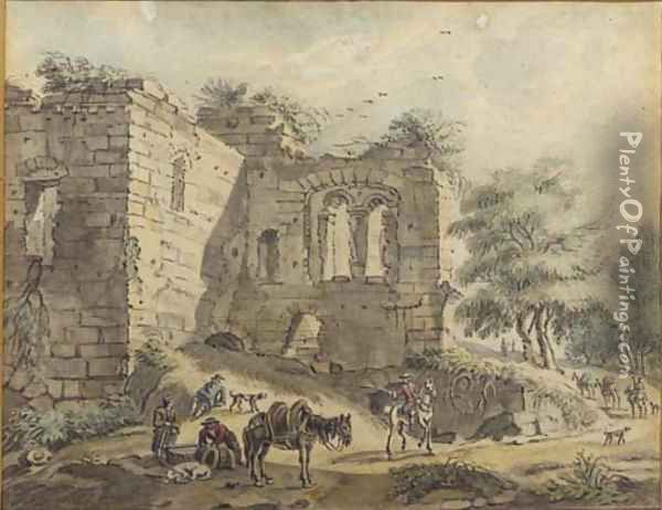 Travellers and peasants with a packhorse on a road by a ruined villa; and A horseman and peasants by a vaulted ruin Oil Painting - Jan De Beyer