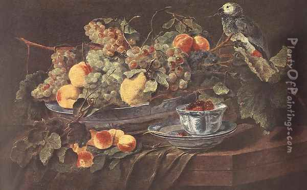 Still-life with Fruits and Parrot c. 1640 Oil Painting - Jan Fyt