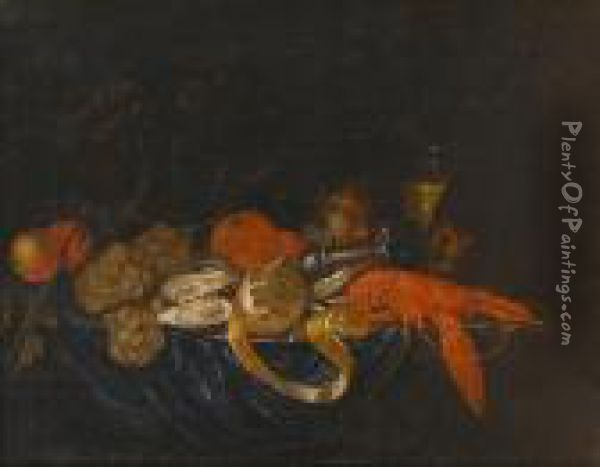 A Pewter Dish Of Oysters,  Lobster And A Peeled Lemon On A Draped Table With Grapes, Oranges And A  Roemer  Of White Wine Oil Painting - Jan Pauwel Ii Gillemans