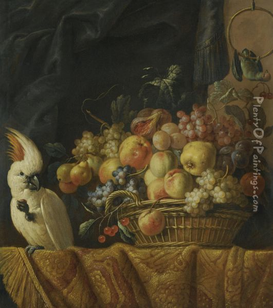 A Still Life Of Figs, Grapes, Apples And Other Fruit On A Table With A Parrot Oil Painting - Jan Pauwel Ii Gillemans