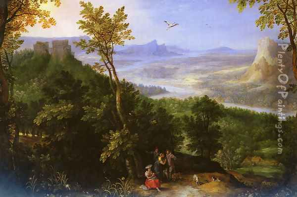An Extensive Landscape With Figures On A Wooded Path Oil Painting - Jan The Elder Brueghel
