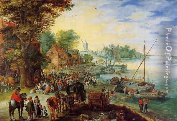 Fish Market on the Banks of the River Oil Painting - Jan The Elder Brueghel