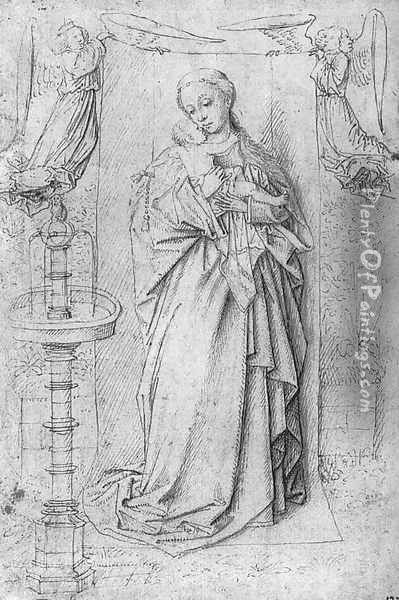 Copy drawing of Madonna by the Fountain Oil Painting - Jan Van Eyck