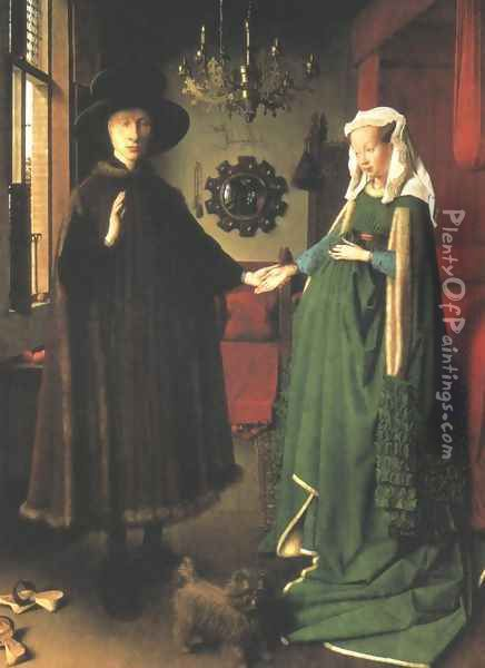 Portrait of Giovanni Arnolfini and his Wife 1434 Oil Painting - Jan Van Eyck