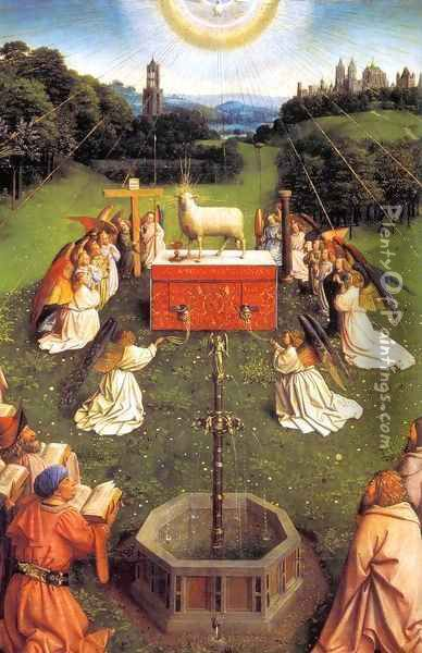 The Ghent Altarpiece Adoration of the Lamb (detail) 3 Oil Painting - Jan Van Eyck
