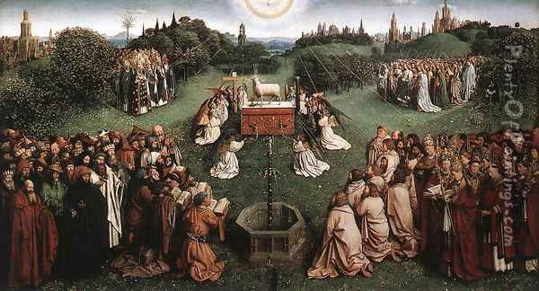 The Ghent Altarpiece- Adoration of the Lamb (detail 1) 1425-29 Oil Painting - Jan Van Eyck
