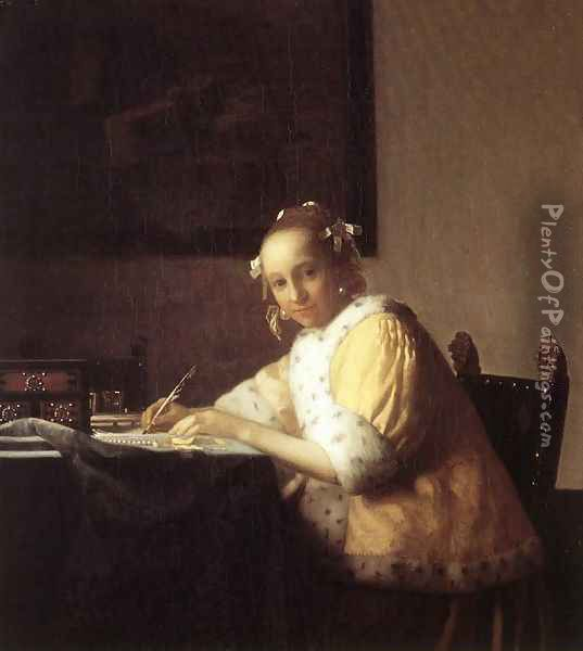 A Lady Writing a Letter 1665-66 Oil Painting - Jan Vermeer Van Delft
