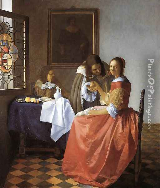 A Lady and Two Gentlemen c. 1659 Oil Painting - Jan Vermeer Van Delft