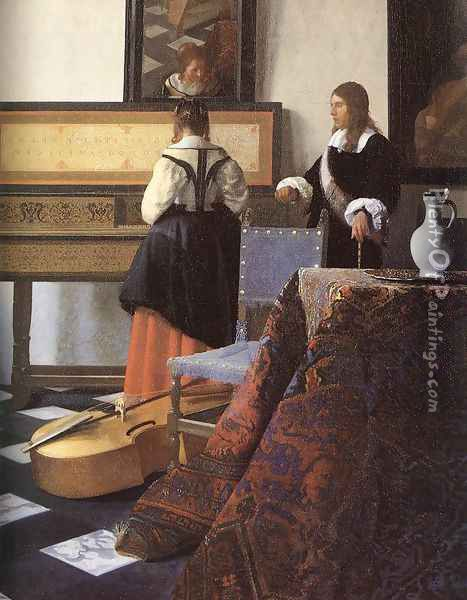 A Lady at the Virginals with a Gentleman (detail-1) 1662-65 Oil Painting - Jan Vermeer Van Delft