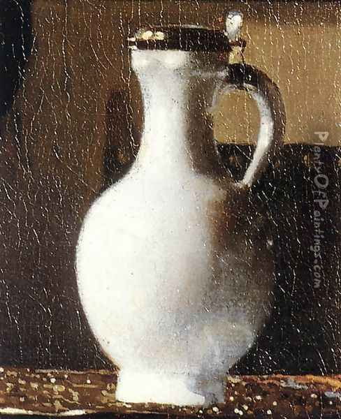 A Lady at the Virginals with a Gentleman (detail-2) 1662-65 Oil Painting - Jan Vermeer Van Delft