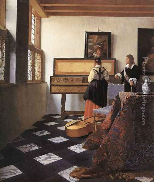 A Lady at the Virginals with a Gentleman 1662-65 Oil Painting - Jan Vermeer Van Delft