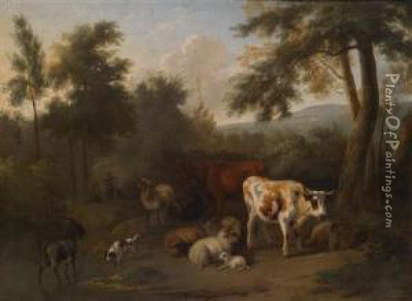 A Wooded Landscape With Resting Cattle Andherders Oil Painting - Jan Vermeer Van Delft