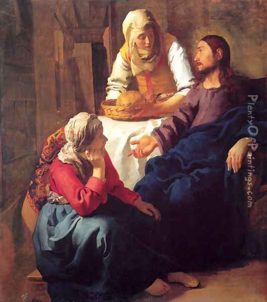 Christ in the House of Martha and Mary 1654-55 Oil Painting - Jan Vermeer Van Delft
