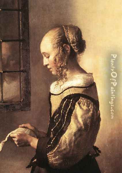 Girl Reading a Letter at an Open Window (detail-1) 1657 Oil Painting - Jan Vermeer Van Delft