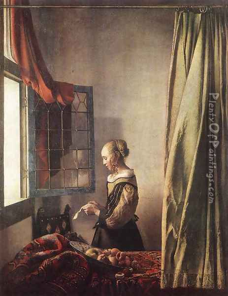 Girl Reading a Letter at an Open Window 1657 Oil Painting - Jan Vermeer Van Delft