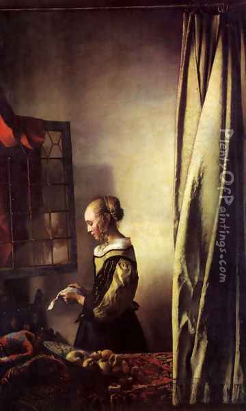 Girl Reading a Letter at an Open Window Oil Painting - Jan Vermeer Van Delft