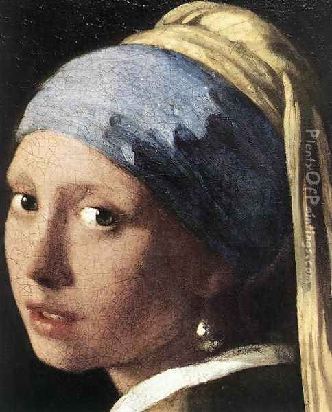 Girl with a Pearl Earring (detail-2) c. 1665 Oil Painting - Jan Vermeer Van Delft