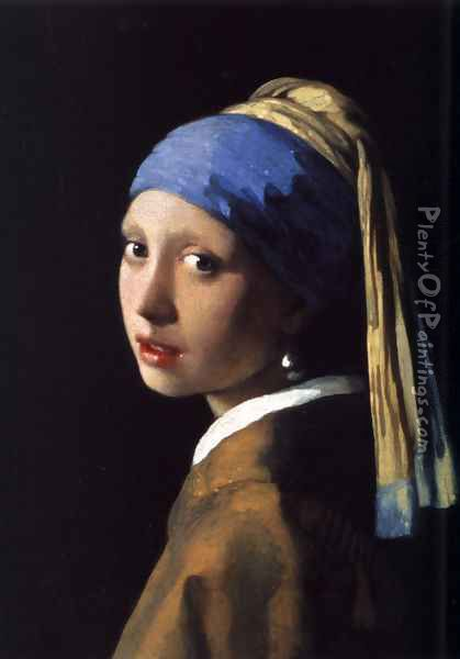 Girl with a Pearl Earring c. 1665 Oil Painting - Jan Vermeer Van Delft