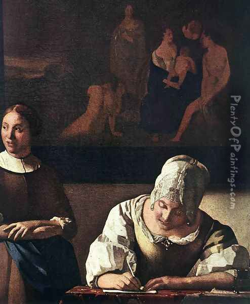 Lady Writing a Letter with Her Maid (detail-1) c. 1670 Oil Painting - Jan Vermeer Van Delft