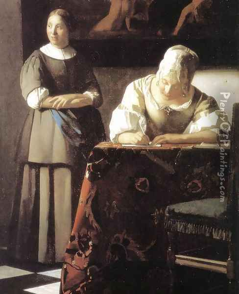 Lady Writing a Letter with Her Maid (detail-2) c. 1670 Oil Painting - Jan Vermeer Van Delft