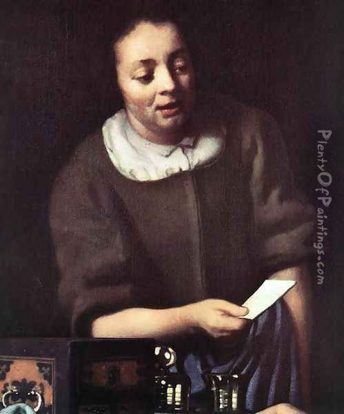Lady with Her Maidservant Holding a Letter [detail: 2] Oil Painting - Jan Vermeer Van Delft