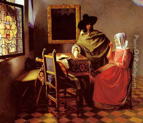 The Glass Of Wine Oil Painting - Jan Vermeer Van Delft