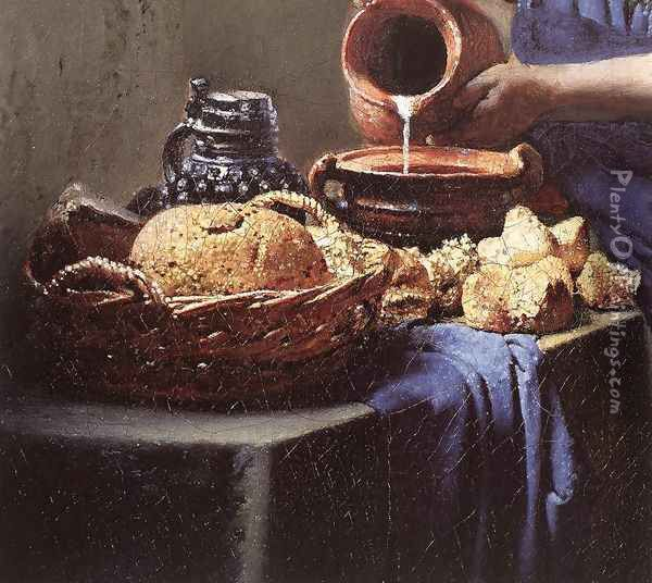 The Milkmaid (detail-4) c. 1658 Oil Painting - Jan Vermeer Van Delft