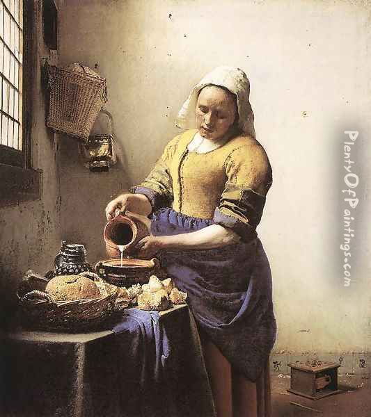 The Milkmaid c. 1658 Oil Painting - Jan Vermeer Van Delft