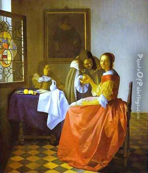 Woman And Two Man 1659-1660 Oil Painting - Jan Vermeer Van Delft