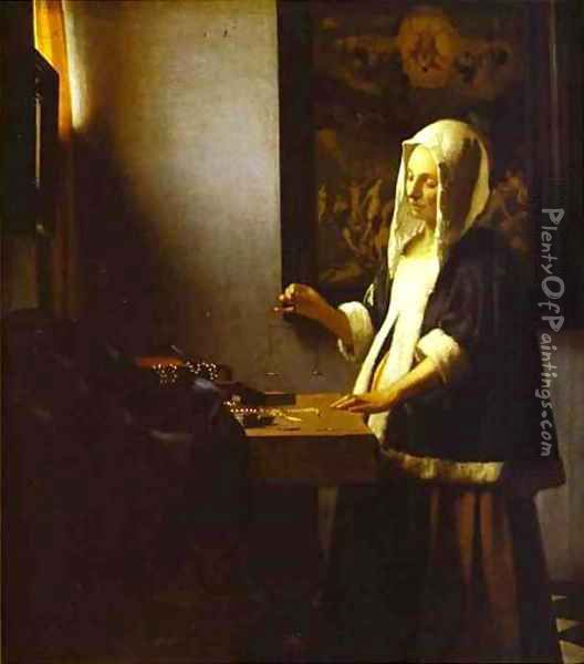 Woman Weighing Pearls 1662-1664 Oil Painting - Jan Vermeer Van Delft
