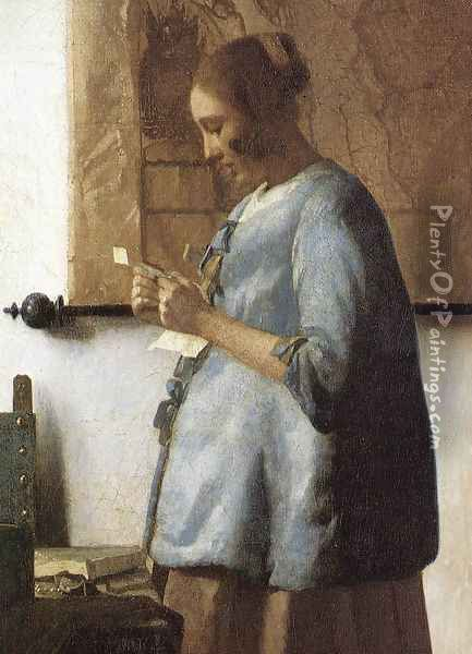 Woman in Blue Reading a Letter (detail) 1663-64 Oil Painting - Jan Vermeer Van Delft