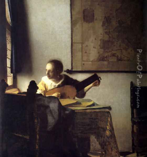 Woman with a Lute near a Window c. 1663 Oil Painting - Jan Vermeer Van Delft