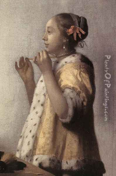 Woman with a Pearl Necklace (detail) 1662-64 Oil Painting - Jan Vermeer Van Delft